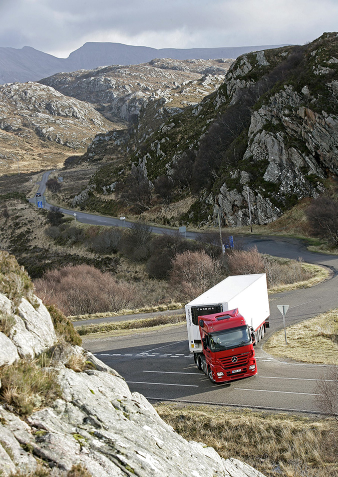 Lorry driving through Scotland