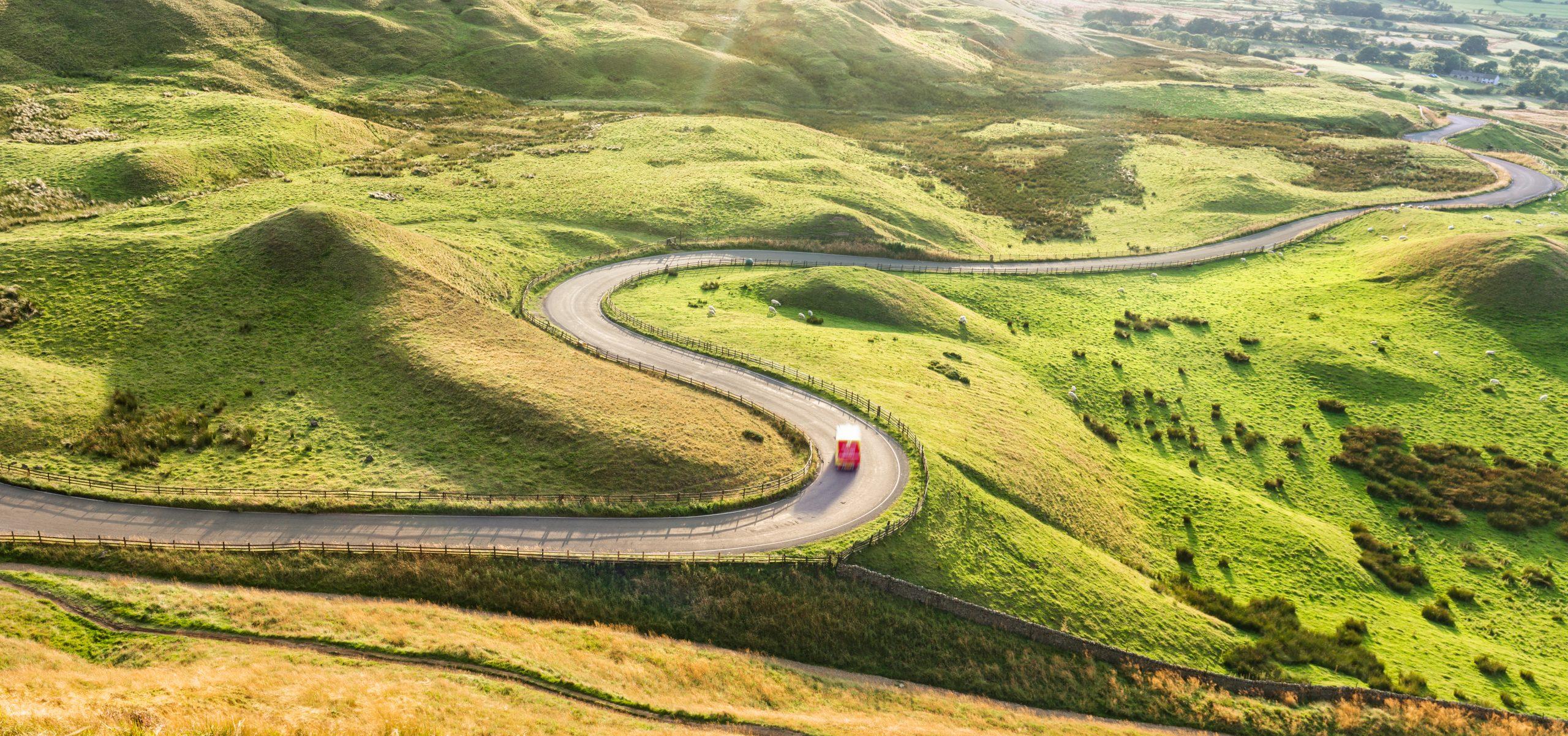 Truck serpentine road UK