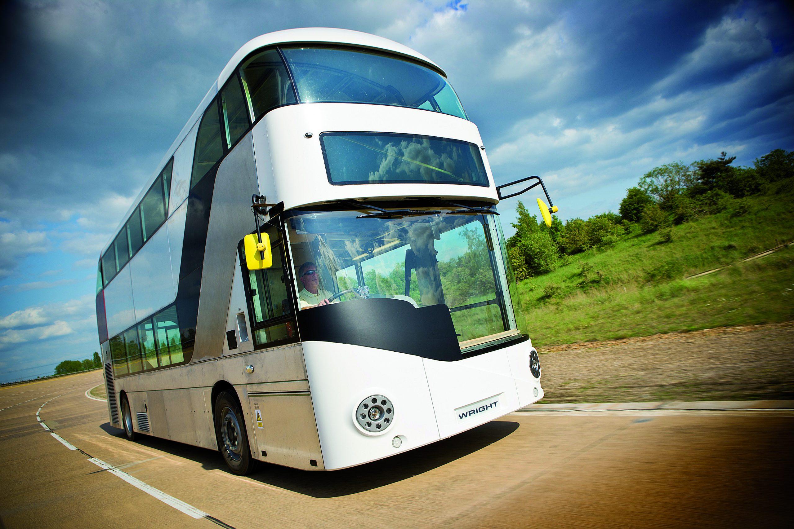 White double decker bus