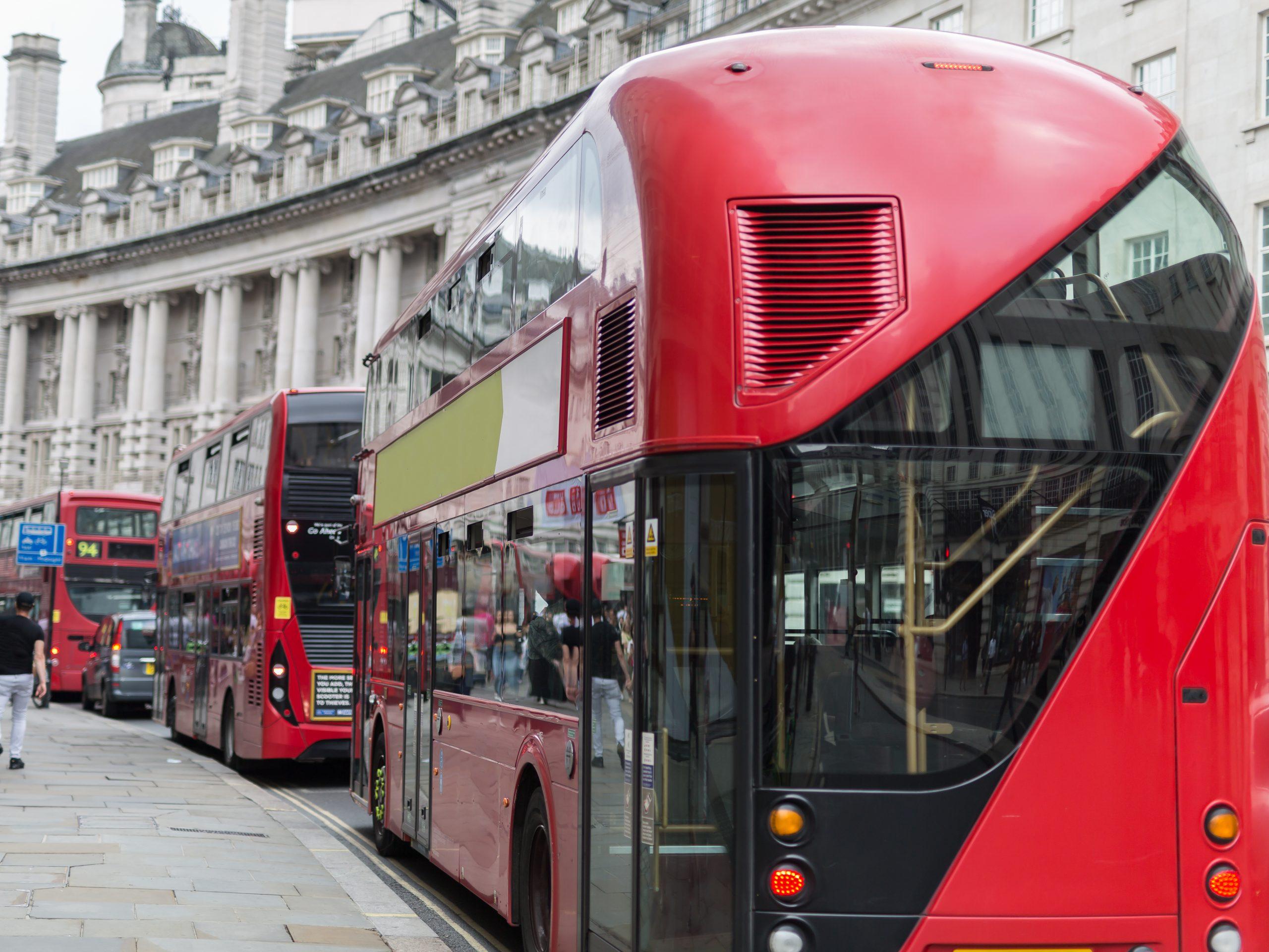 red buses in Regeant Street, London
