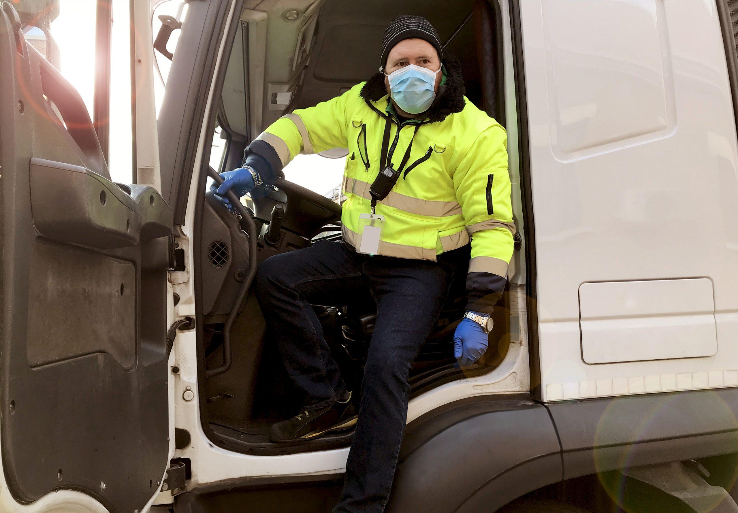 Coronavirus truck driver with mask