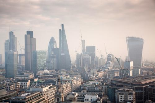 Foggy smoggy London skyline