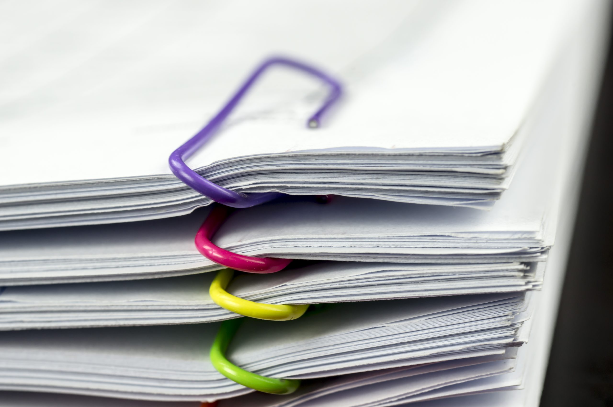 paperwork coloured clips