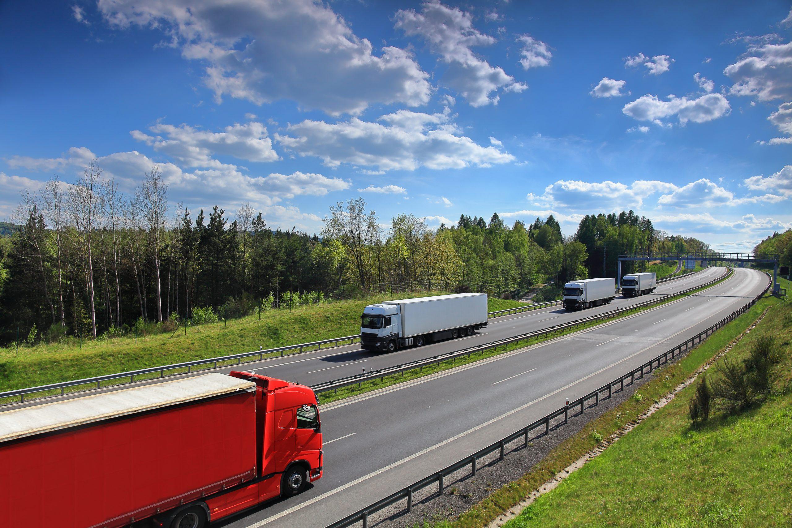 Trucks on motorway   wrong side, needs flipping