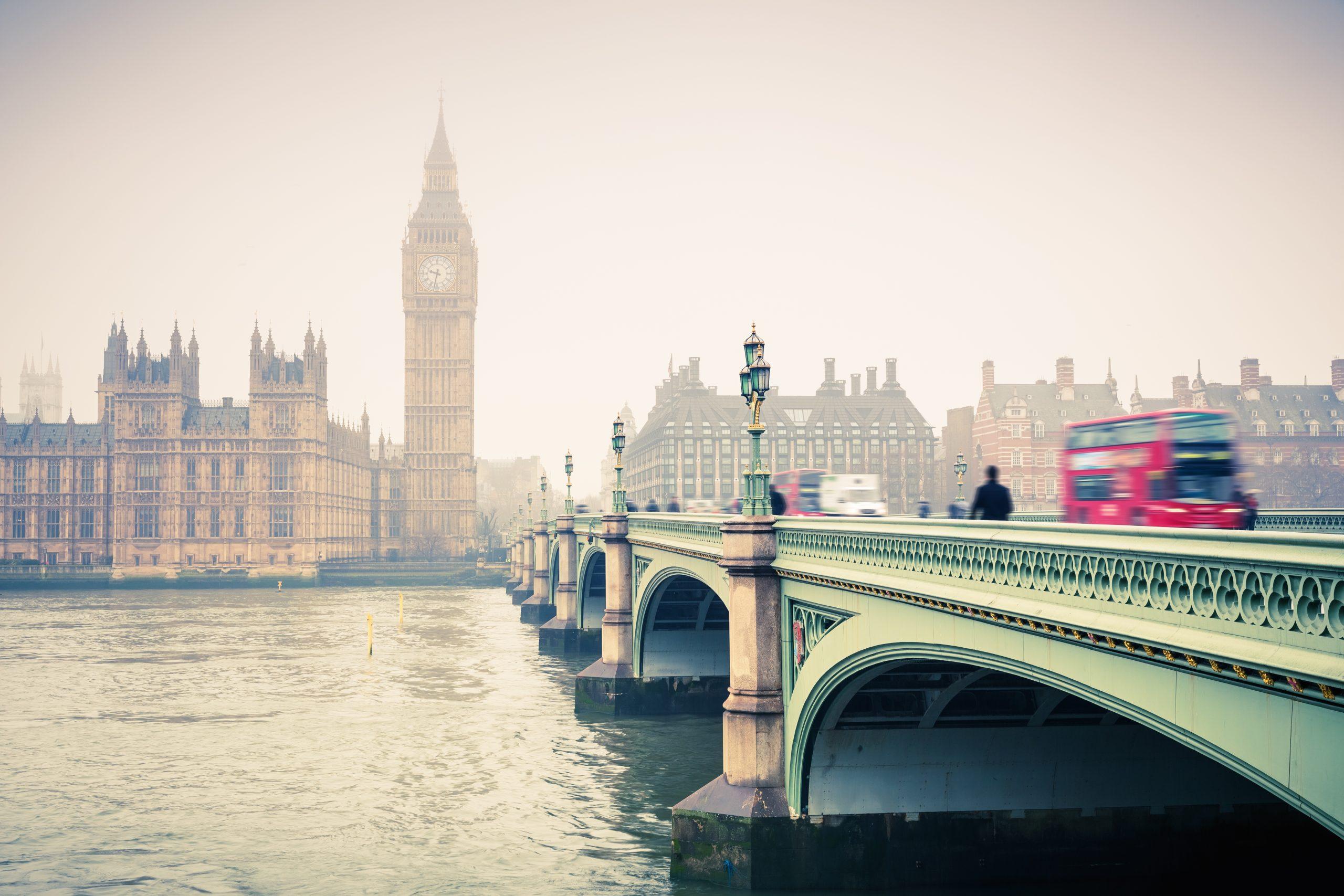 London   hazy with bus