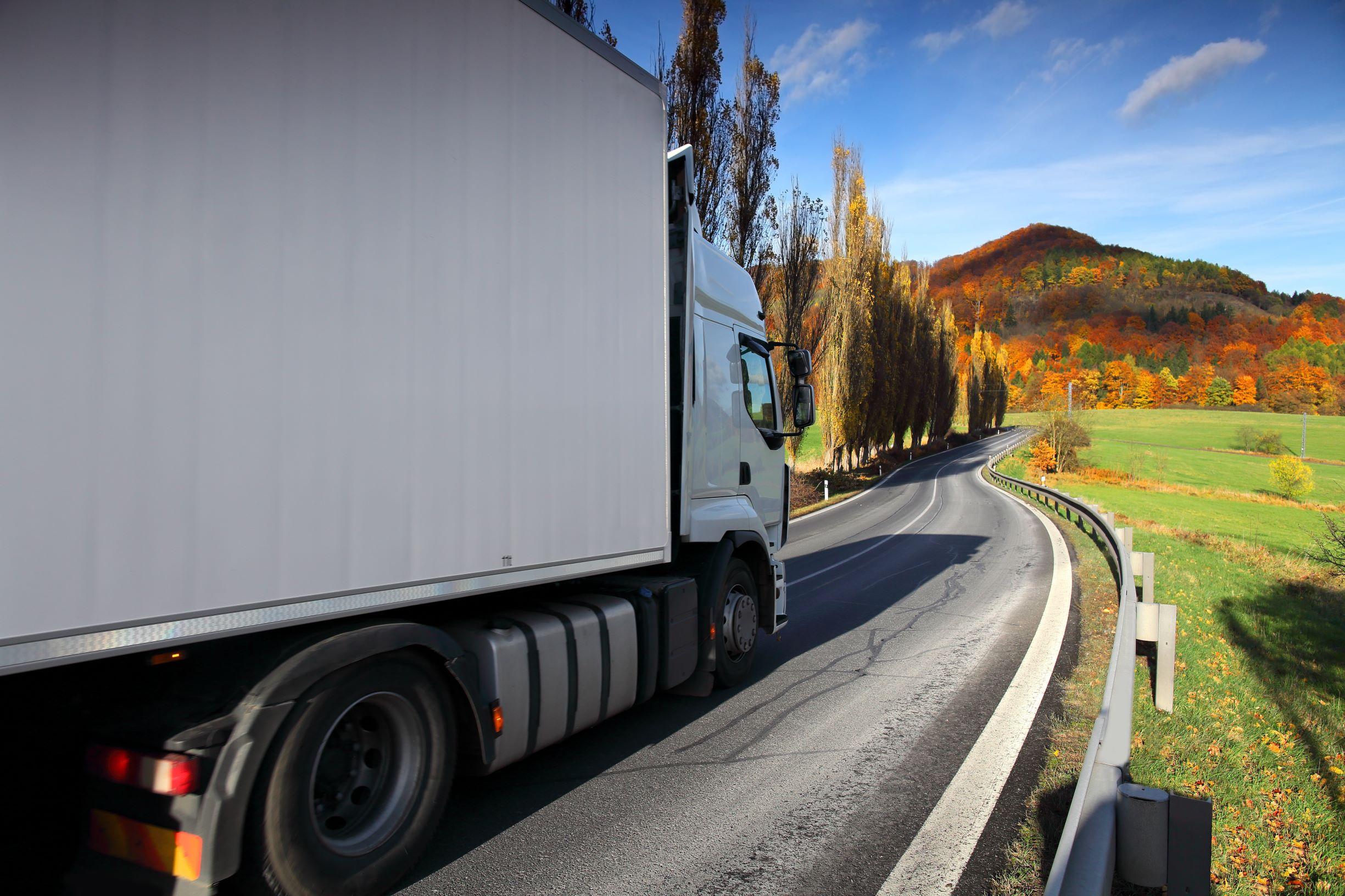 Truck open road autumn colours